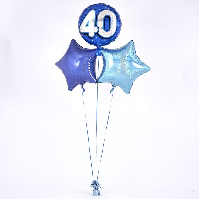 Blue 40th Birthday Balloon Bouquet - DELIVERED INFLATED!