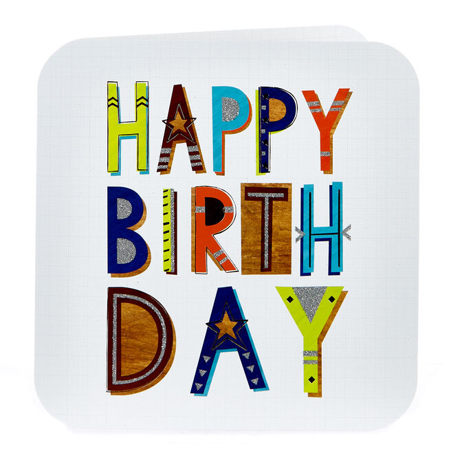 Platinum Collection Birthday Card - Funky Lettering