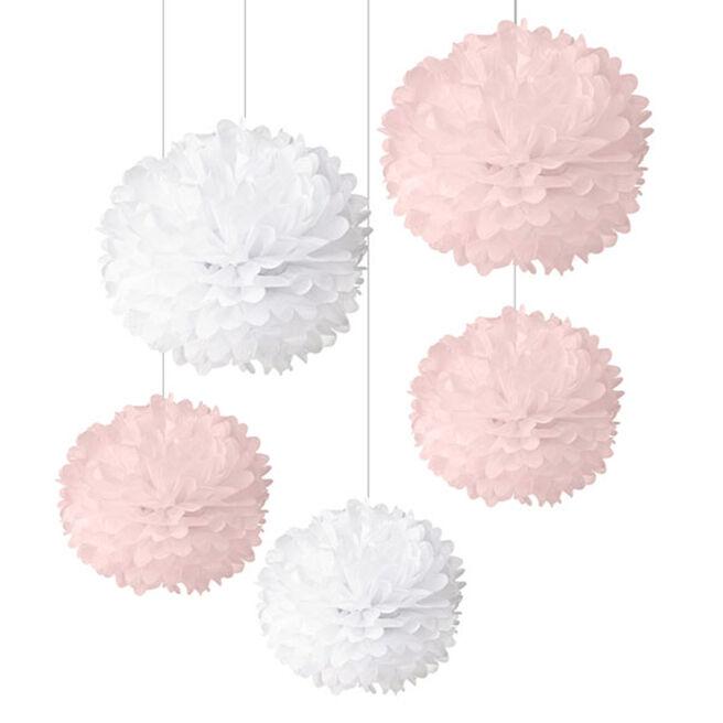 Pink & White New Baby Pom-Poms - Pack Of 5
