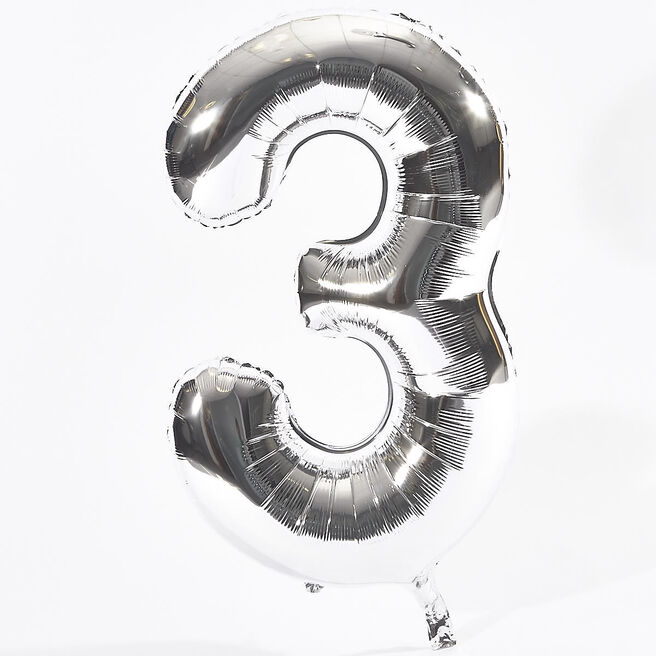 Silver Number 3 Foil Giant Helium Balloon (Deflated)