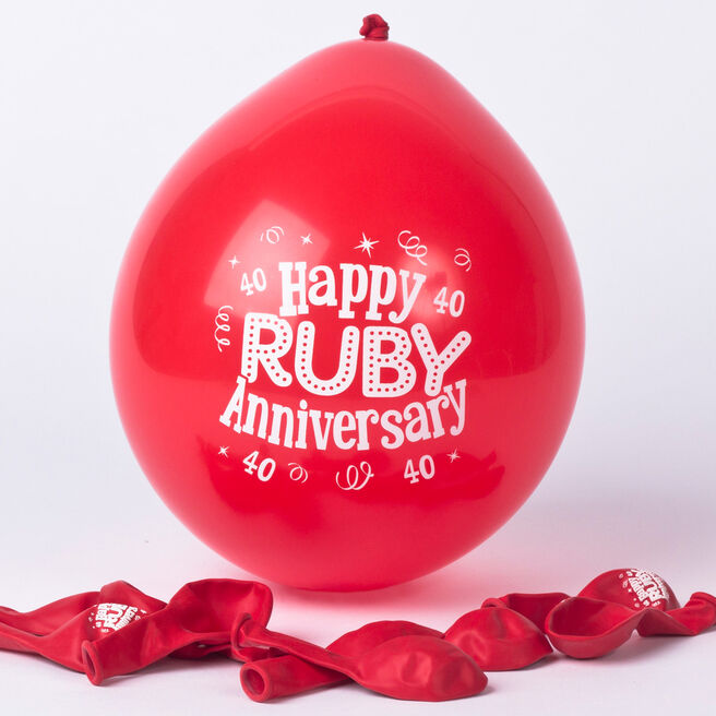 Ruby Anniversary Small Air-fill Latex Balloons, Pack Of 10