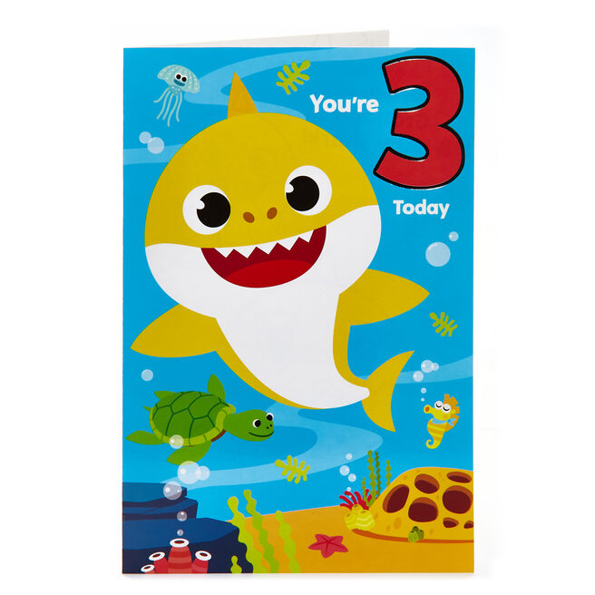 Baby Shark 3rd Birthday Card