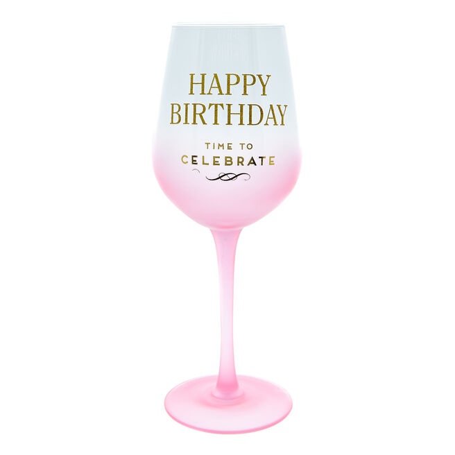 Happy Birthday Wine Glass - Time To Celebrate