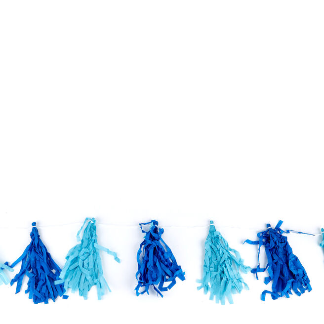 Light & Dark Blue 9ft Tassel Garland