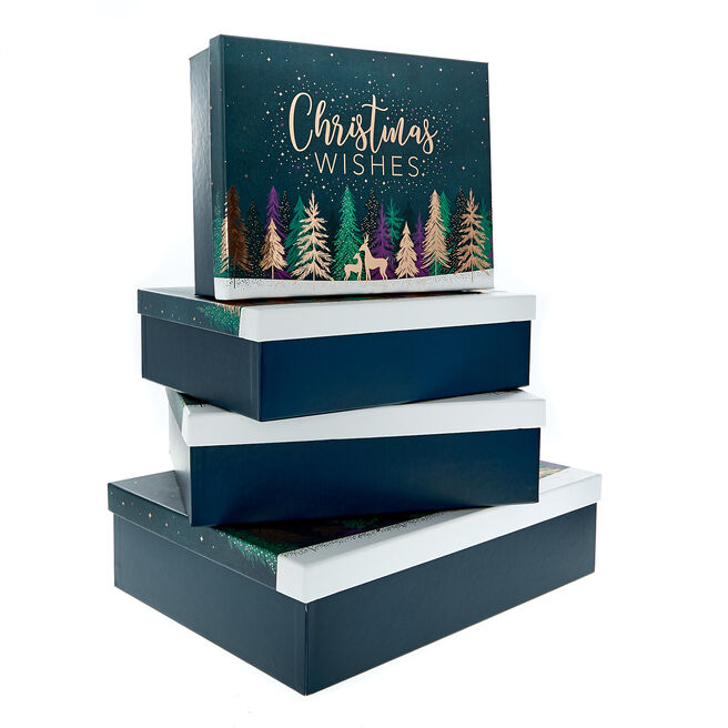 Festive Trees Christmas Gift Boxes - Set Of 4