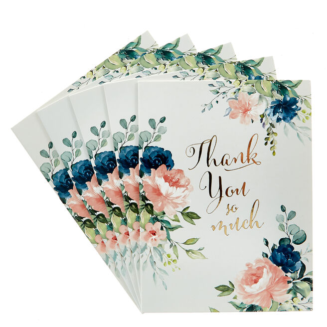 Thank You So Much Floral Cards - Pack Of 12