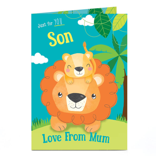 Personalised Birthday Card - Lion & Cub, Son