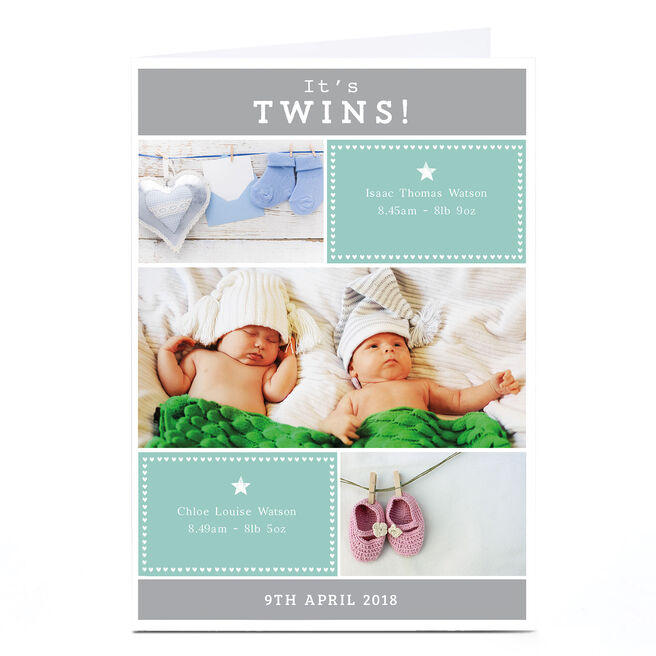 New Baby Photo Card - It's Twins
