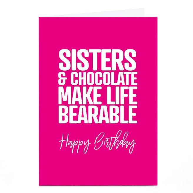 Personalised Punk Birthday Card - Sisters & Chocolate