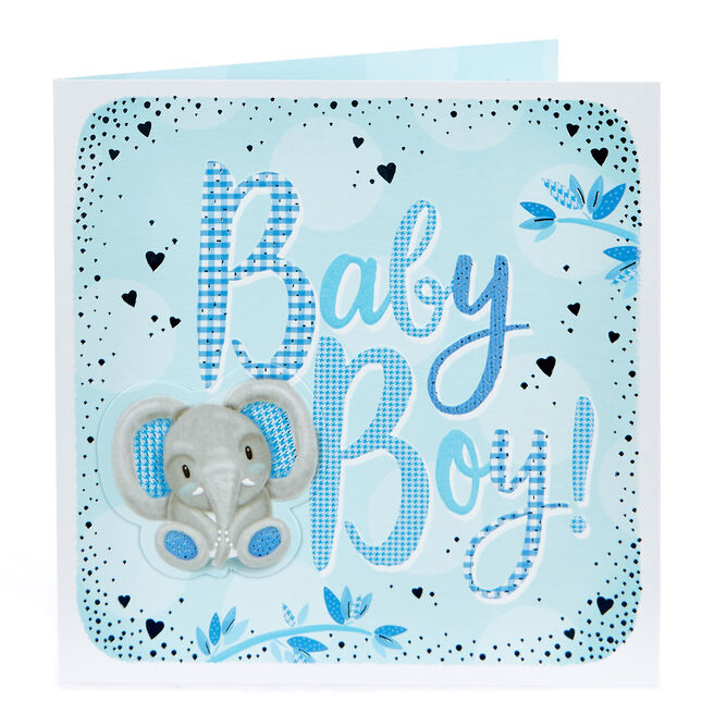 Boutique Collection New Baby Card - Baby Boy, Elephant