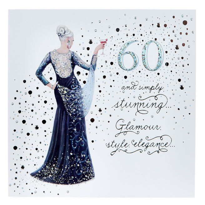 Platinum Collection 60th Birthday Card - Simply Stunning