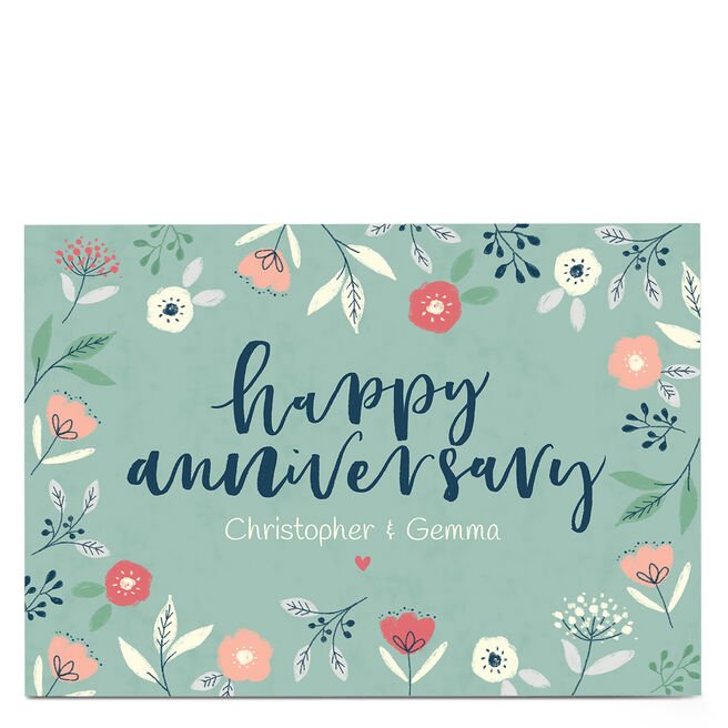 Personalised Nikki Whiston Anniversary Card - Floral