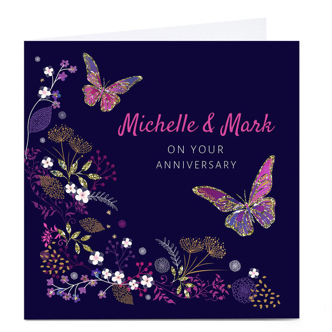 Personalised Kerry Spurling Anniversary Card - Butterflies