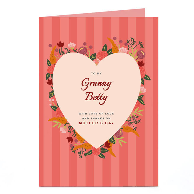 Personalised Mother's Day Card - Red Floral and Stripe