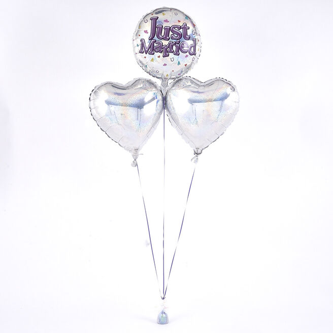 Just Married  Circle Romantic Balloon Bouquet - The Perfect Gift!