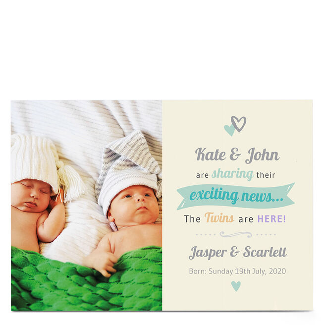 Personalised Photo Card - Baby Exciting News