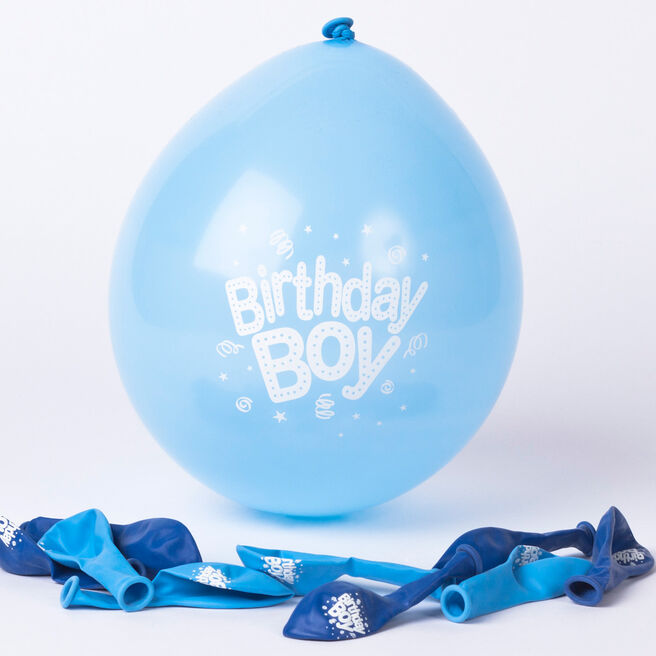 Blue Birthday Boy Small Latex Balloons, Pack Of 10