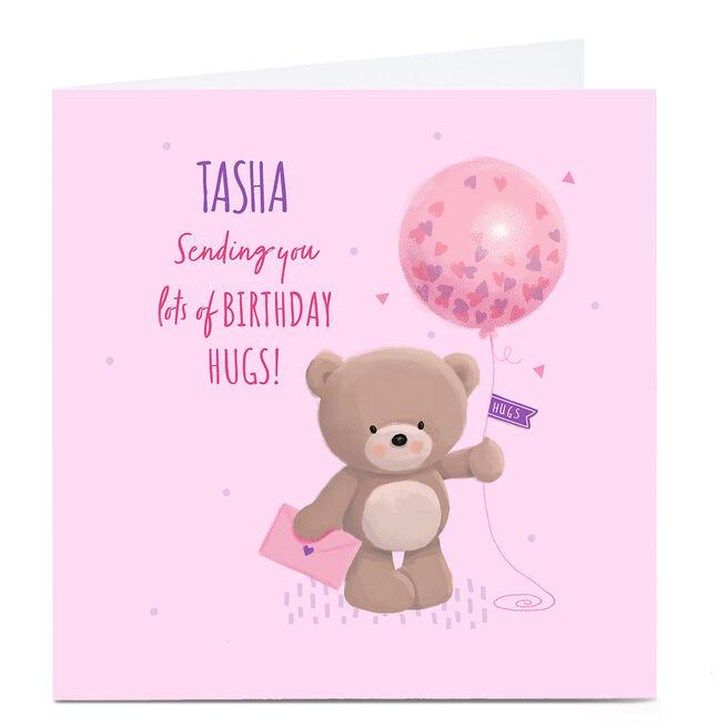 Personalised Charity Hugs Bear Birthday Card - Lots Of Birthday Hugs