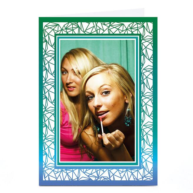 Photo Card - Green And Blue Geometric Frame