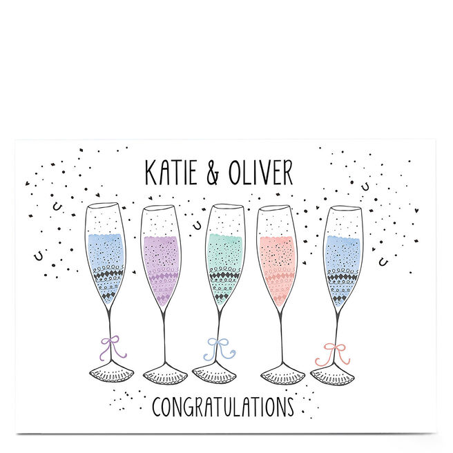 Personalised Card - Confetti & Champagne Flutes
