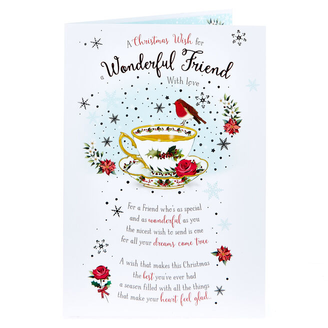 Christmas Card - Wonderful Friend, Teacup