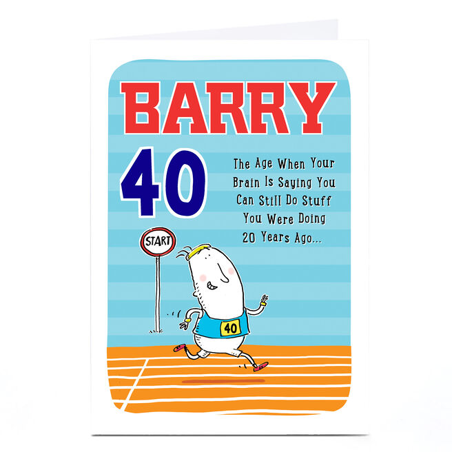 Personalised Any Age Birthday Card - Running Track Any Name
