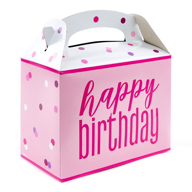 Pink Happy Birthday Party Boxes - Pack Of 6