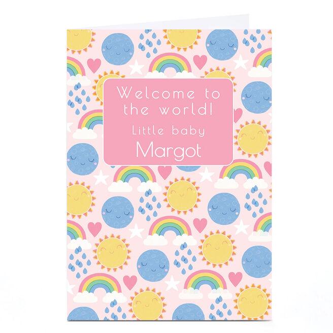 Personalised Hannah Steele New Baby Card - Rainbows, Pink