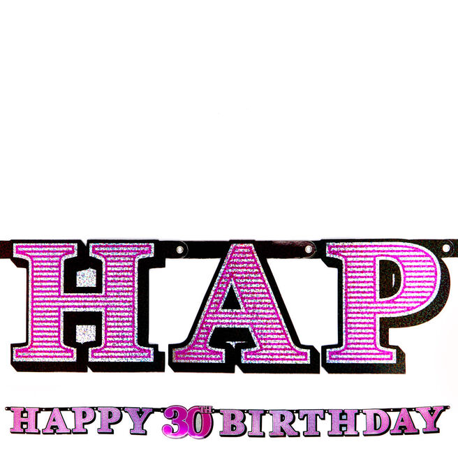 Pink Holographic 30th Birthday Banner