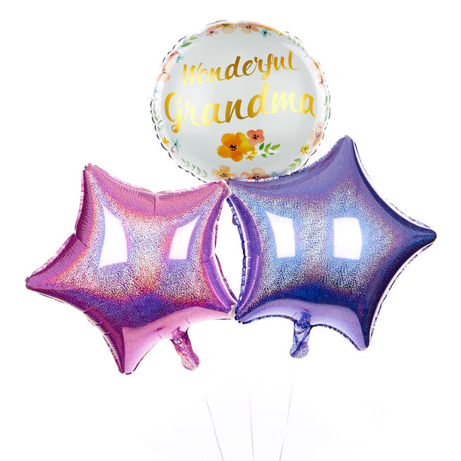 Pink and Lilac Wonderful Grandma Balloon Bouquet - DELIVERED INFLATED!
