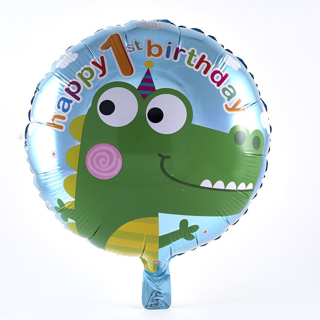 Happy 1st Birthday Crocodile Foil Helium Balloon