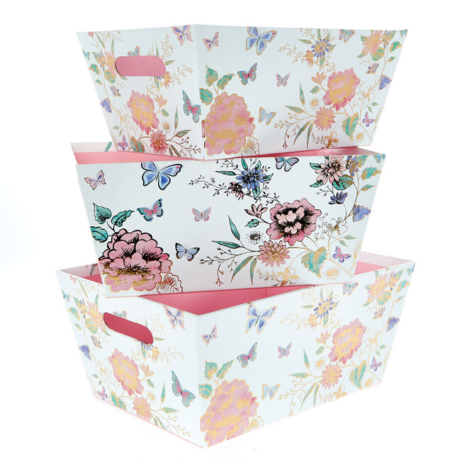 Flowers & Butterflies Tray Boxes - Set Of 3