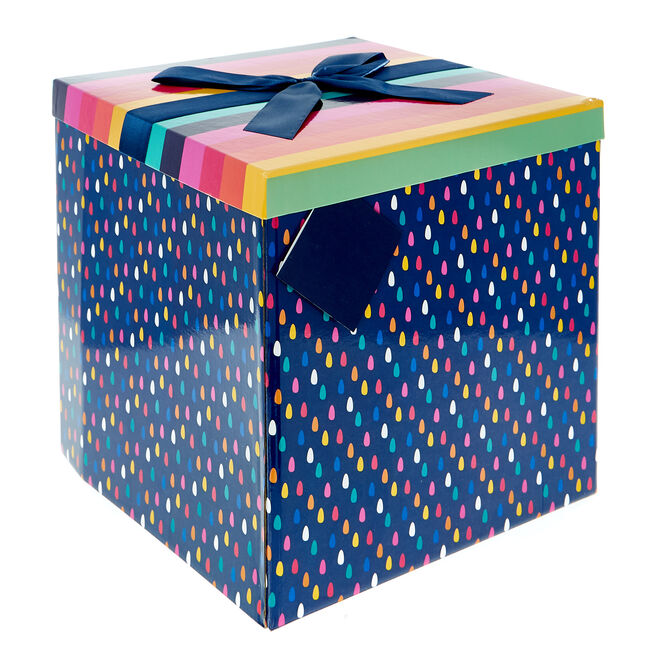 Jumbo Flat-Pack Gift Box - Stripes & Raindrops