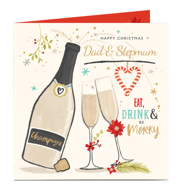 Personalised Christmas Card - Be Merry! Dad and Stepmum