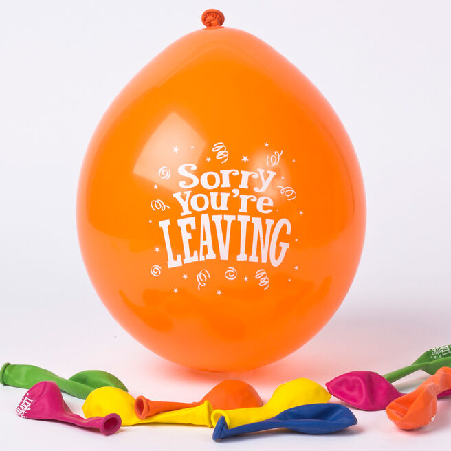 Multicoloured Sorry You're Leaving Small Latex Balloons - Pack of 10