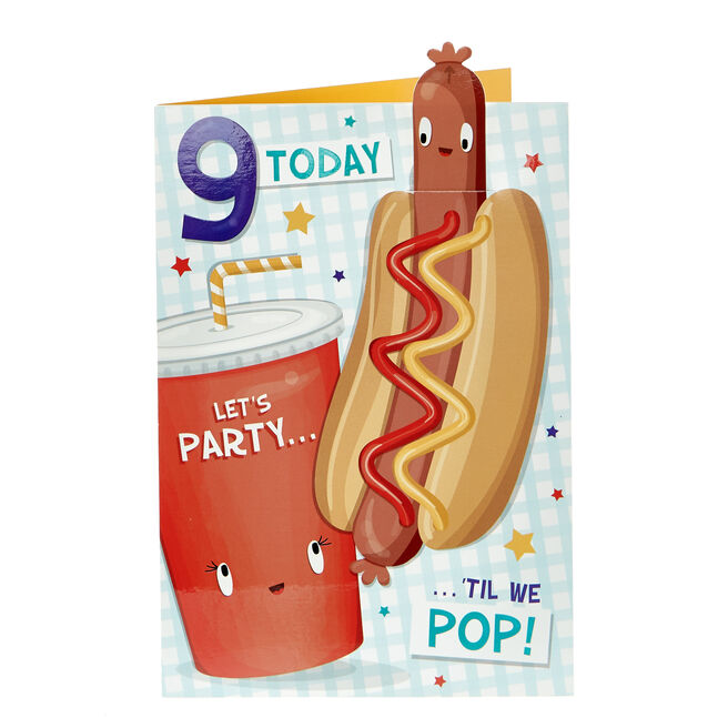 9th Birthday Card - Party 'Til We Pop