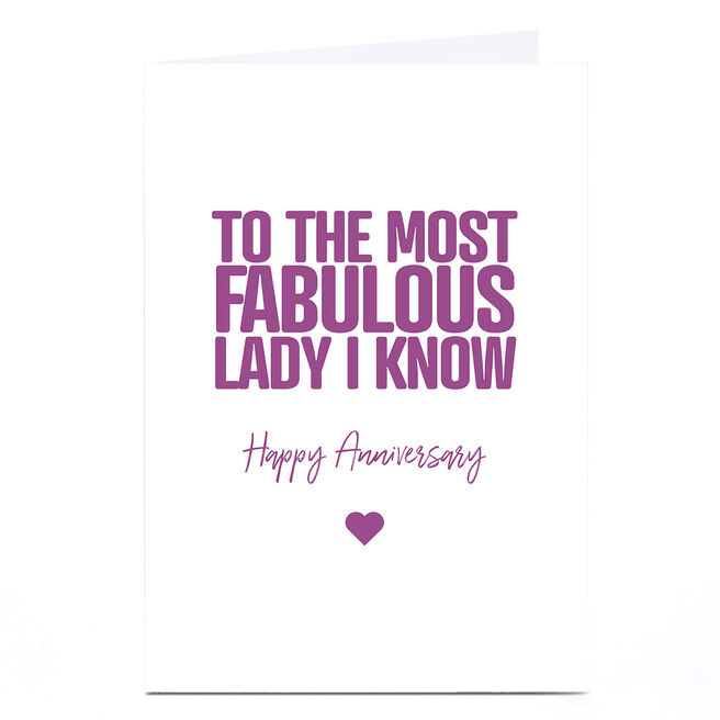 Personalised Punk Cards Anniversary Card - Fabulous Lady