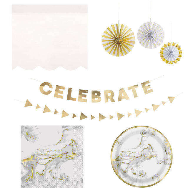 Gold Marble Party Tableware & Decorations - 20 Guests