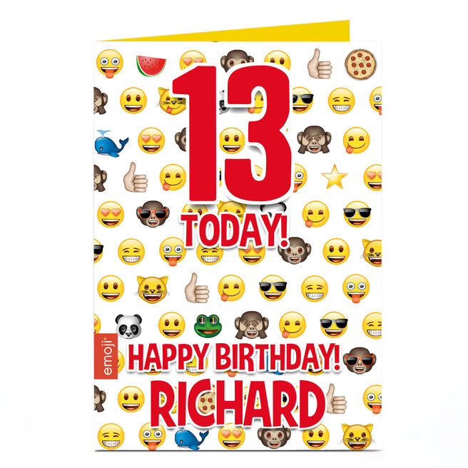 Personalised EDITABLE AGE Birthday Card - Emoji Emoji Emoji