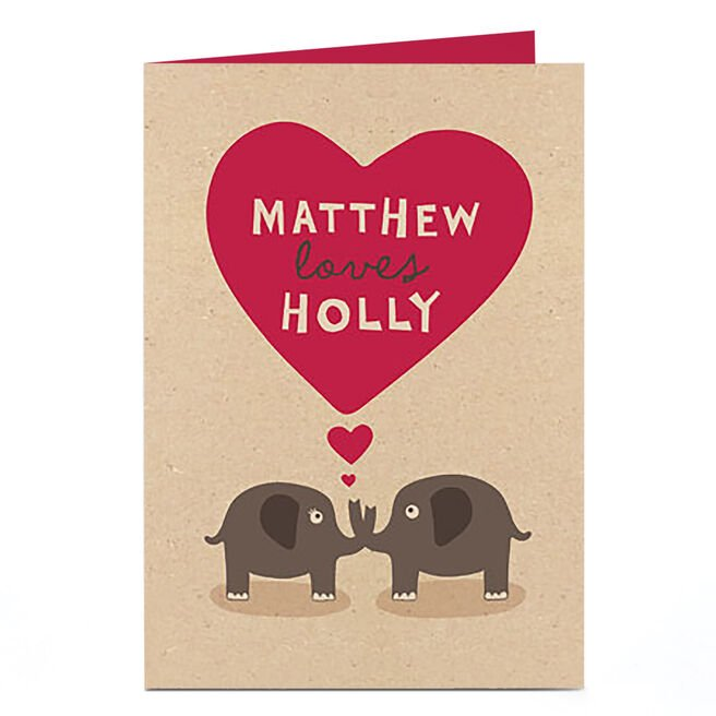 Personalised Card - Elephants In Love