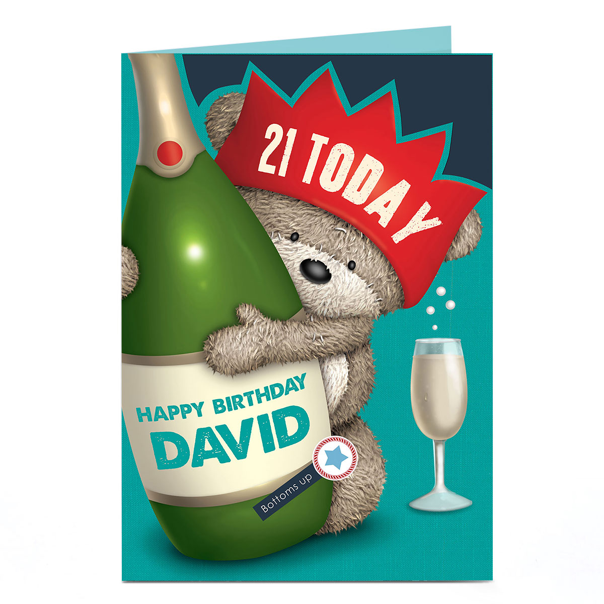 Personalised Hugs Bear 21st Birthday Card - Champagne