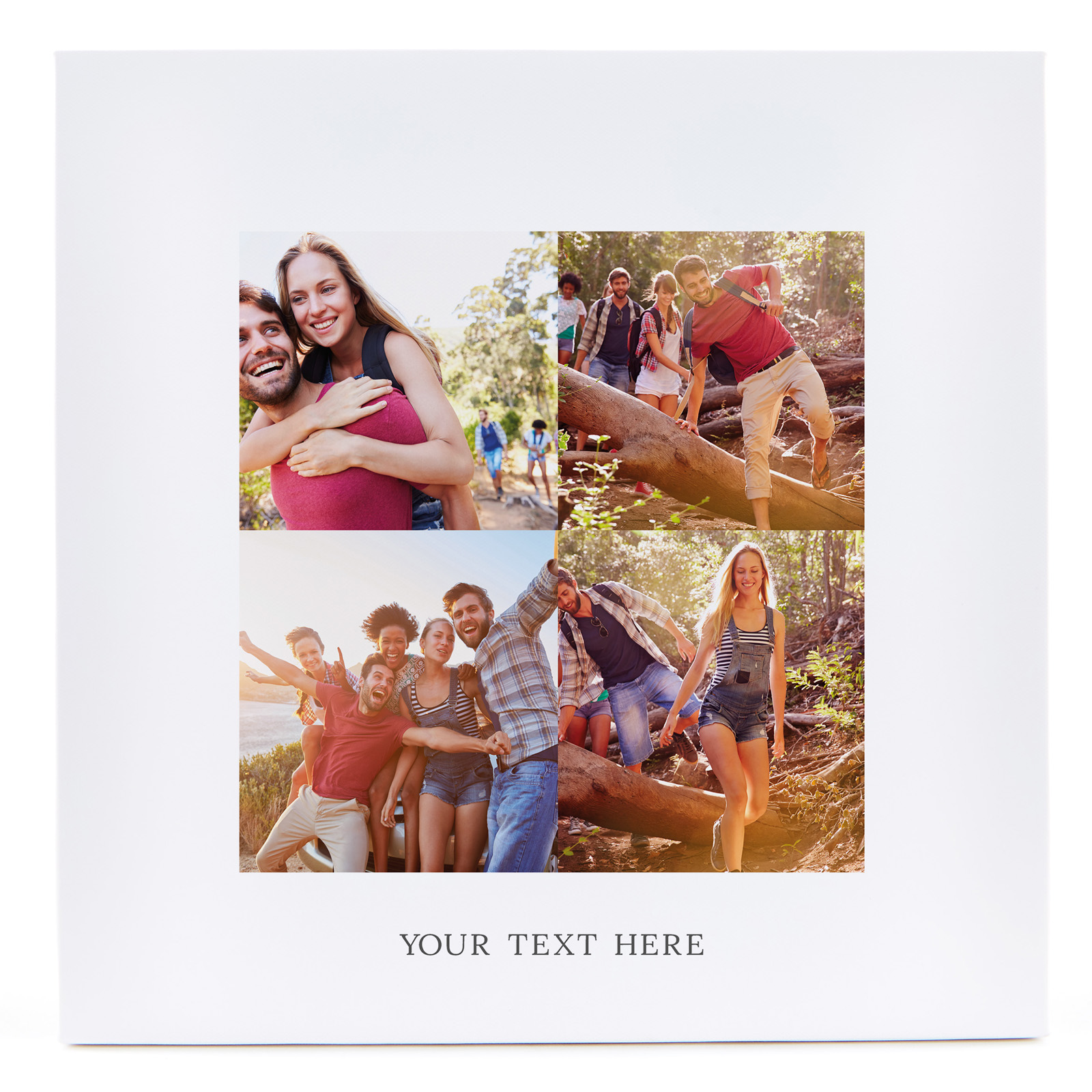 Personalised Canvas - 12x12 Inches (Square) - Multi Photo Upload, Any Message