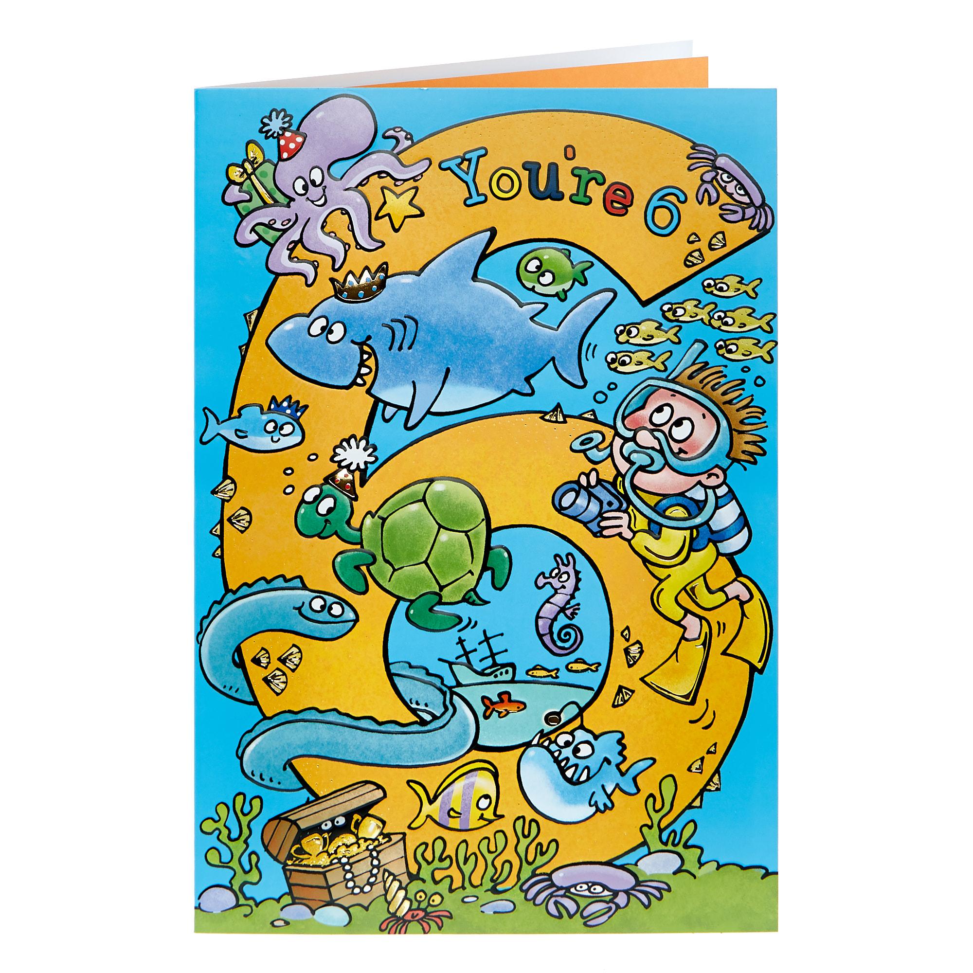 buy 6th birthday card  sea creatures for gbp 099  card