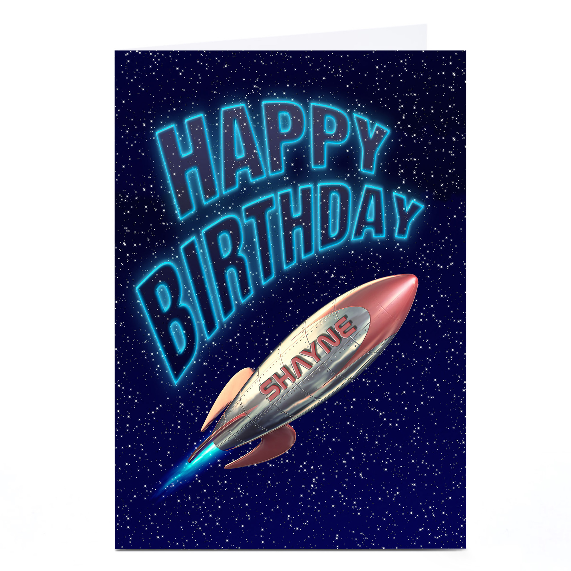 Personalised Birthday Card - Rocket