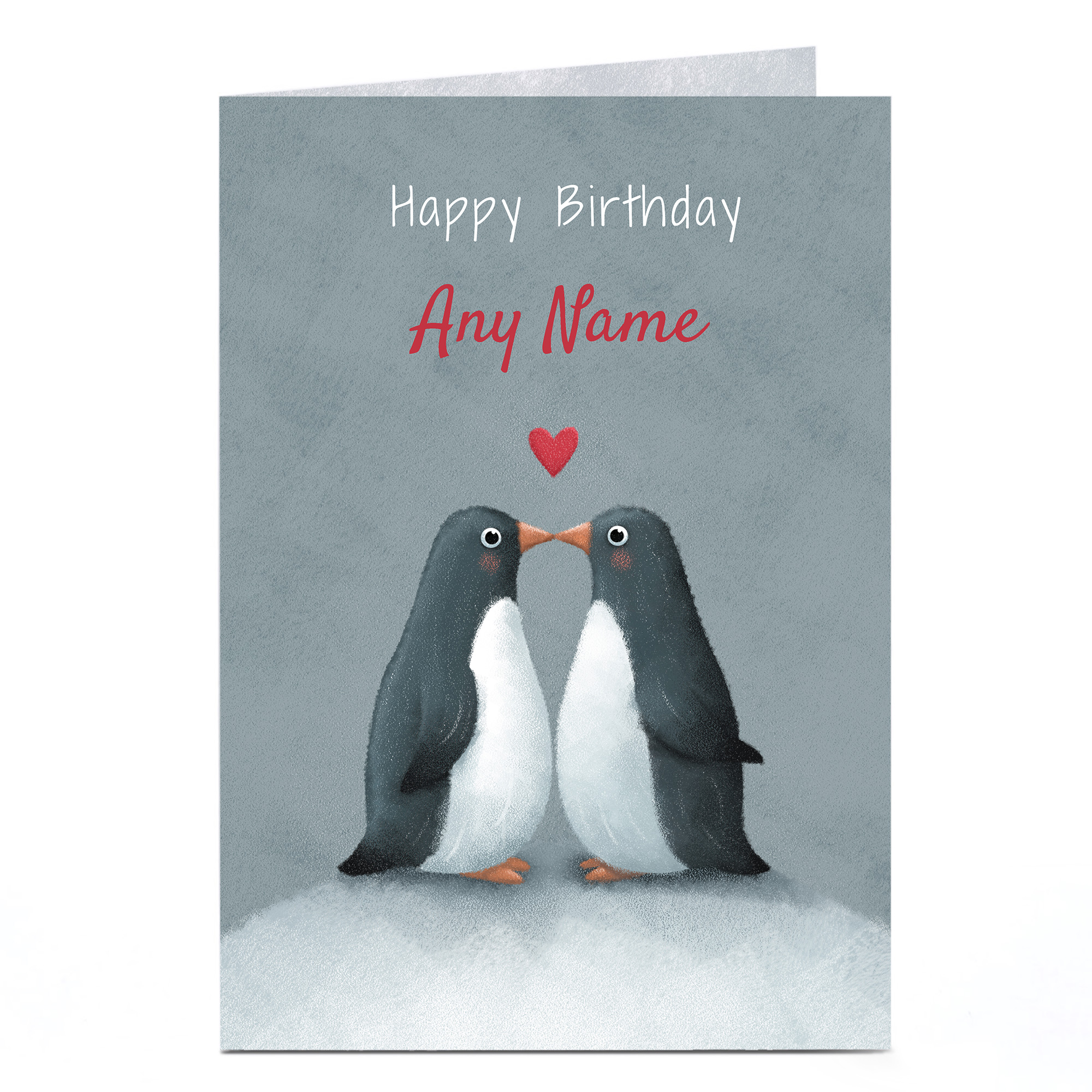 Personalised Birthday Card - Penguin Love