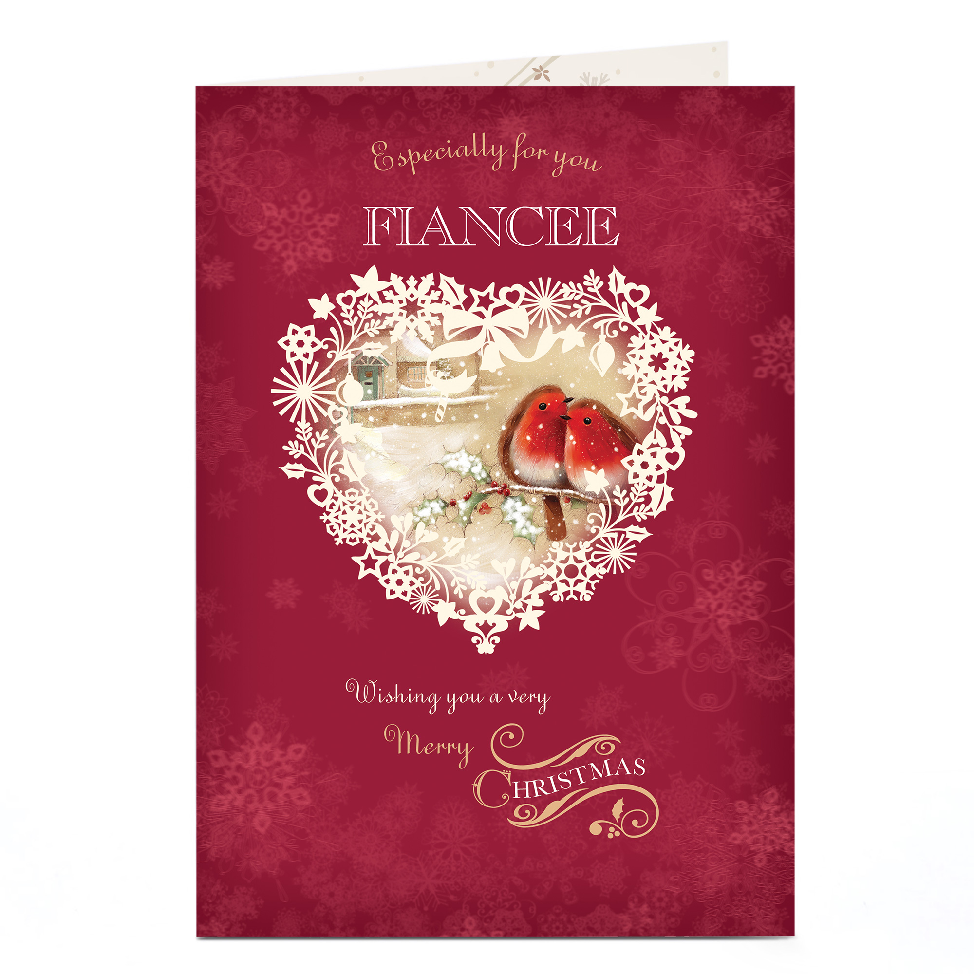 Personalised Christmas Card - Robins In A Heart - Fiancee