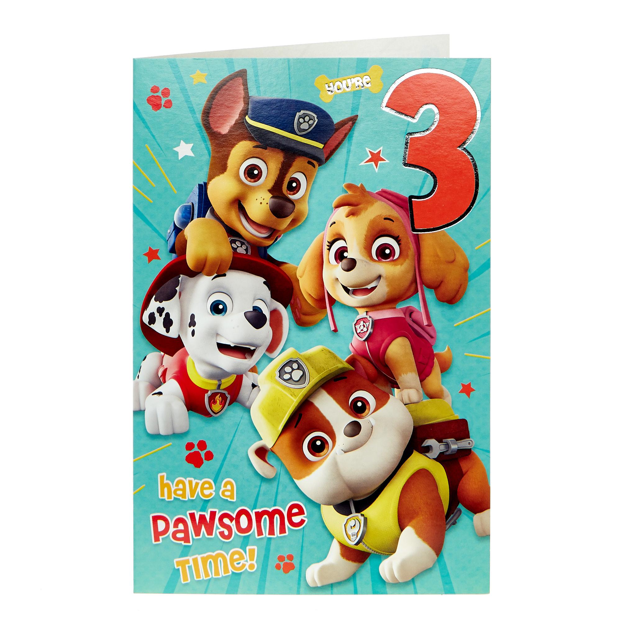 buy paw patrol 3rd birthday card for gbp 099  card