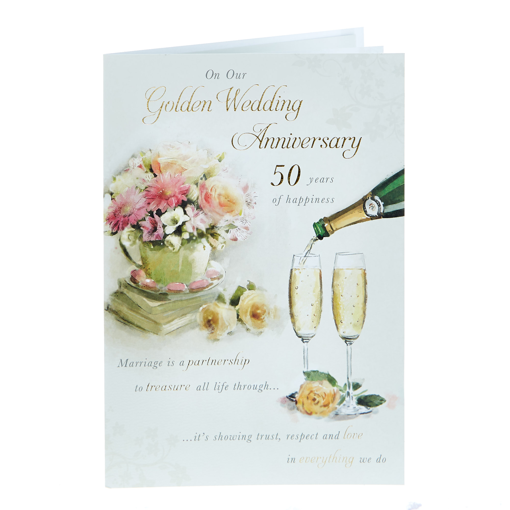 buy 50th anniversary card  on our golden wedding for gbp
