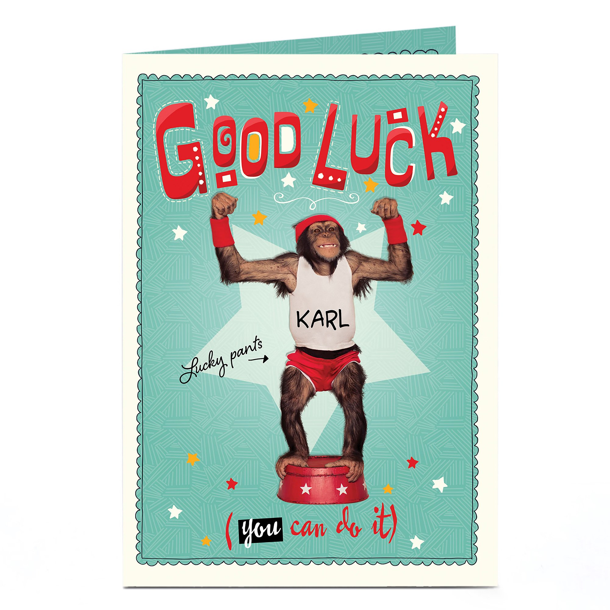 Personalised Good Luck Card - Lucky Pants Monkey