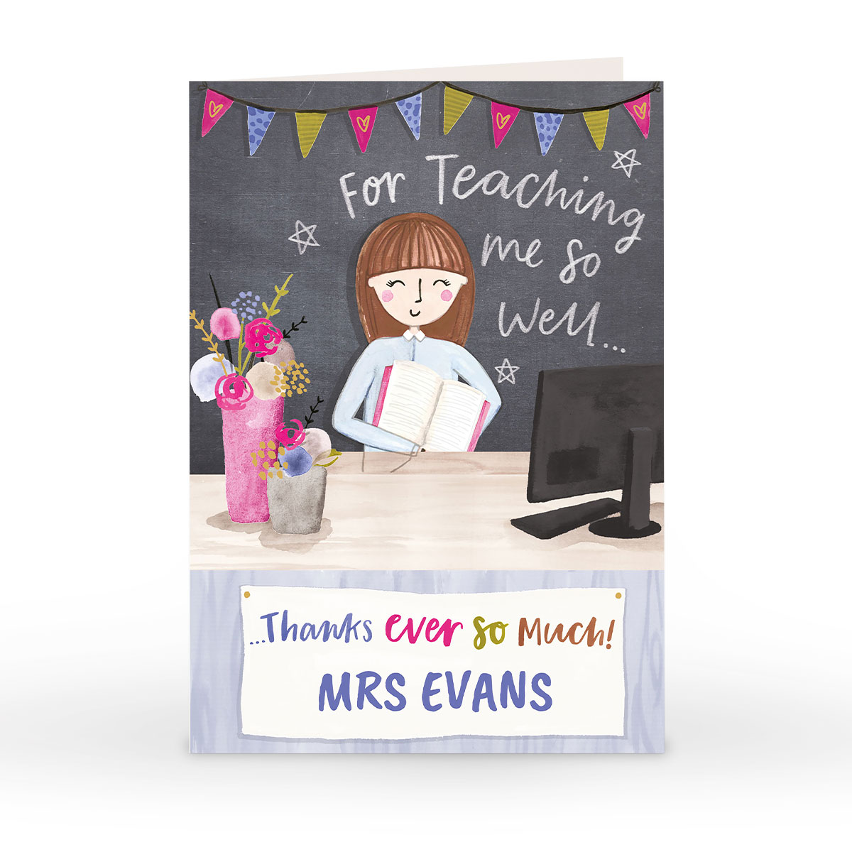 Personalised Thank You Teacher Card - For Teaching Me So Well